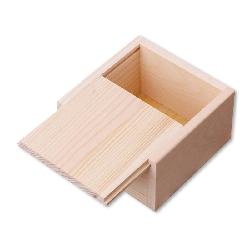 Gift packaging wooden box pine wooden small packaging box with sliding lid