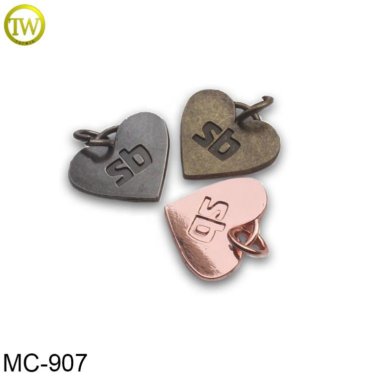 Custom engraved logo pendent designs heart shape metal jewelry hang tags for necklace