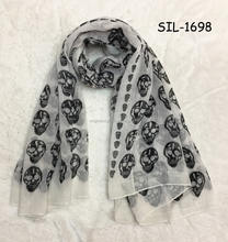 Hot popular Chinese manufacture factory beauty girl soft sarong pareo viscose hijab wrap chiffon shawls print skull scarves
