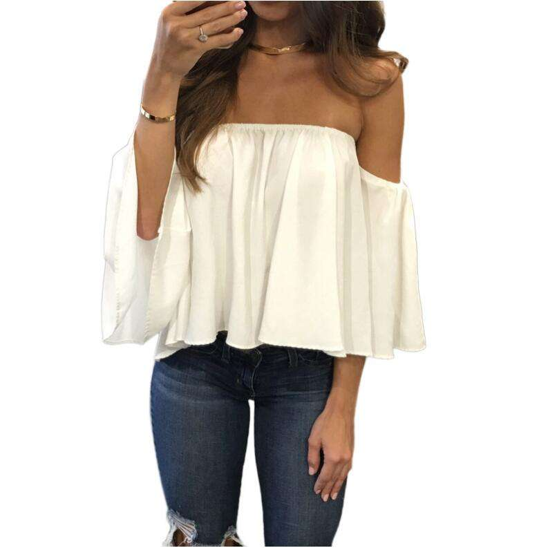 Women Summer Off the Shoulder Blouses Short Sleeves Sexy Tops Chiffon Ruffles Loose Crop Top Casual Tee Beach Clothing T Shirt
