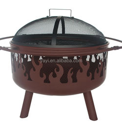 32 inch outdoor stylish rusty bbq fire pit with big ring