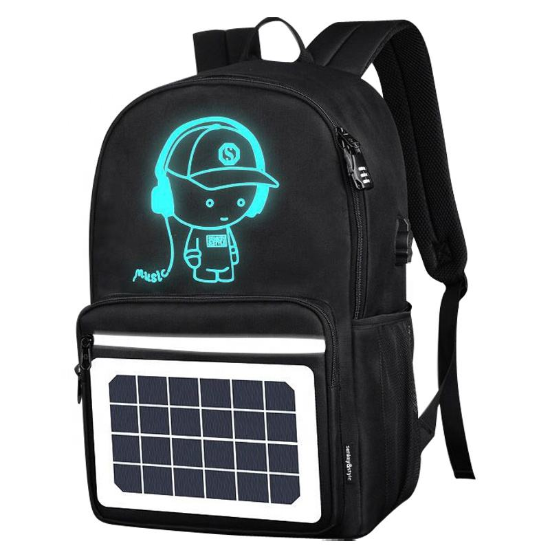 school fashion music boy solar panel USB charge backpack