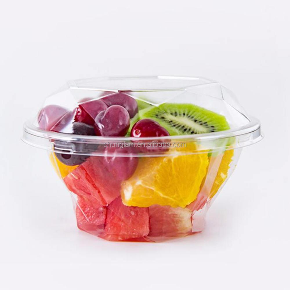 ダイヤモンドカップ透明なプラスチック使い捨てフルーツサラダ食品ディスプレイトレイでカバー