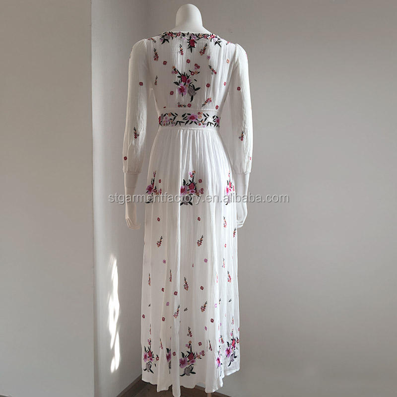Embroidery Women Embroidery Long Dress Women Boho Clothing Sta-115