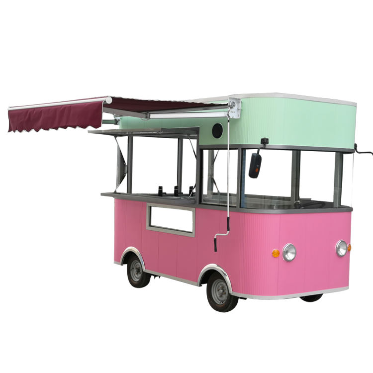Commerical corn dog waffle machine 4 wheel food truck mobile fast food cart coffee trailer