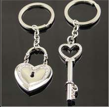 2018 Metal band drill heart - shaped couple keychain