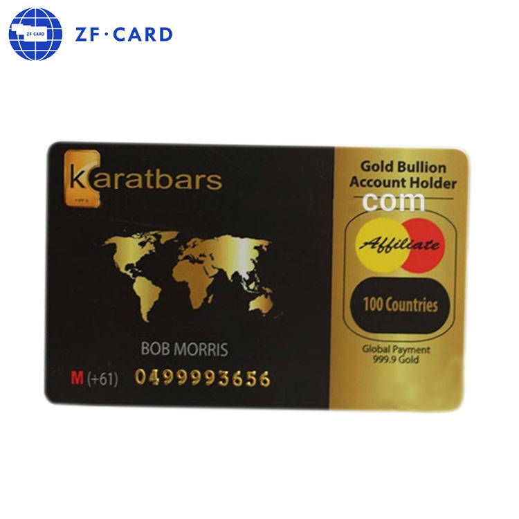 CMYK CR80 Credit Card Size Plastic Embossed PVC Card Personalized Number