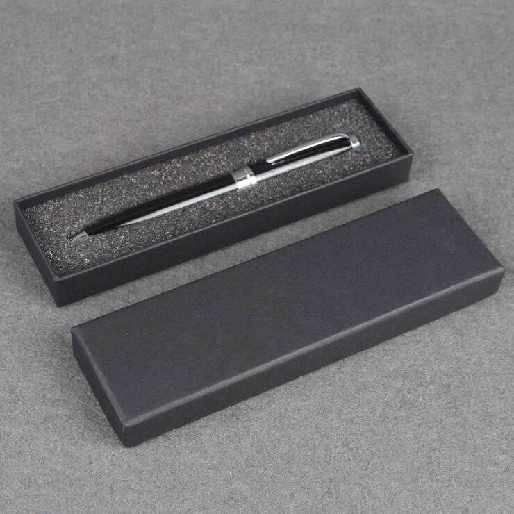 17.5x5x2cm Black Paper Pencil Box Pen Gifts Box with sponge gift package Custom Logo