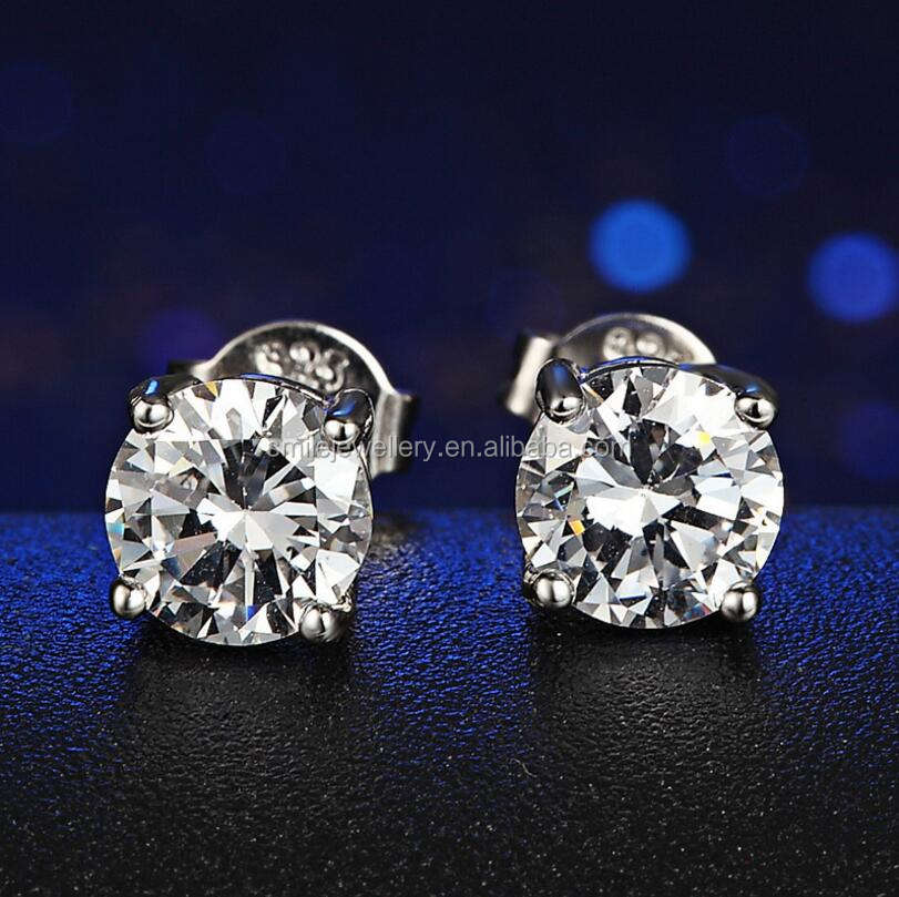 Silver Jewelry Classic Silver Single Round CZ 2-10mm Stud Earrings for women 2020