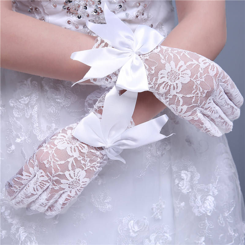 wholesale top quality cheap short tulle open finger wedding gloves for bridal MGB19