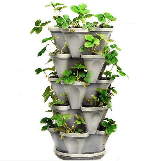 Stackable Strawberry, Herb, Flower, and Vegetable Planter - Vertical Garden Indoor/Outdoor