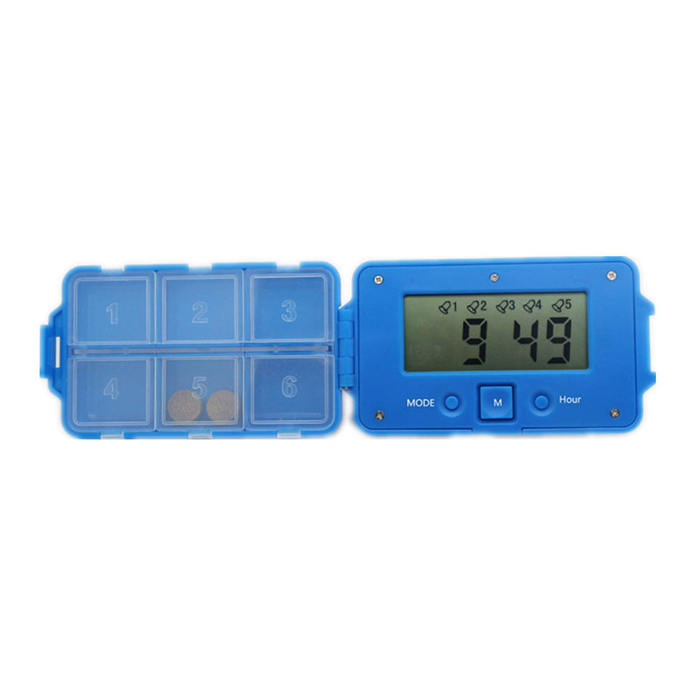 Portable 6 Compartment Pill Box Timer Reminder