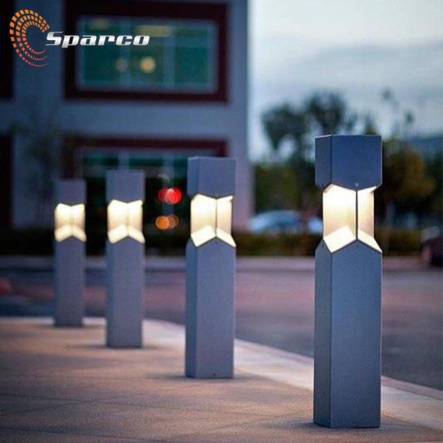 Sparco Modern design stainless steel garden outdoors square bollard light