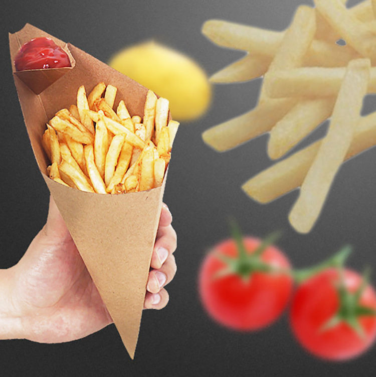 Restaurant French Fry Disposable Packaging Bag Waterproof Anti-oil Waxed Kraft Paper Cup