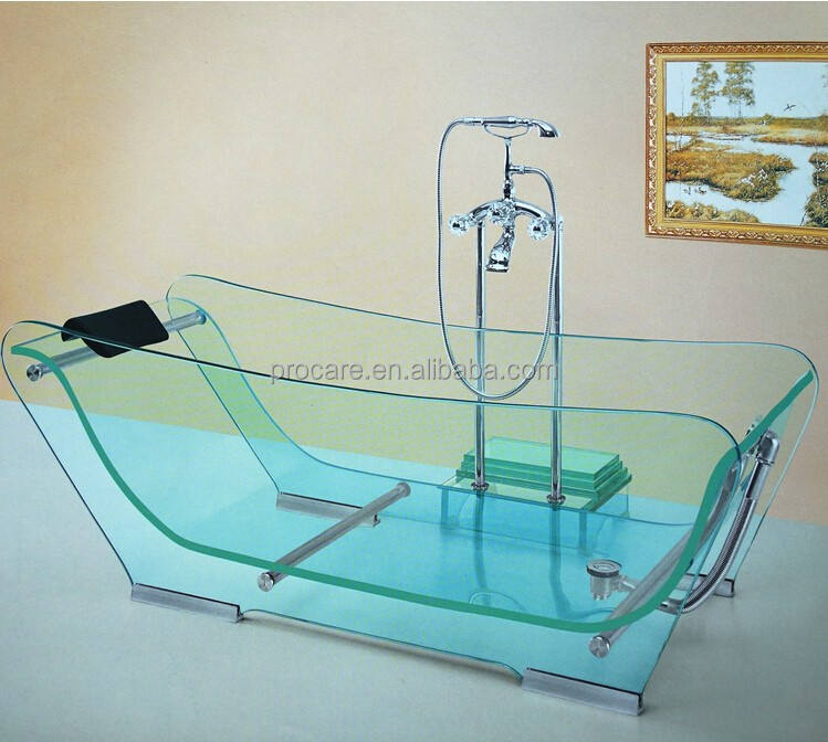 Good quality clear freestanding full glass whirlpool bathtub