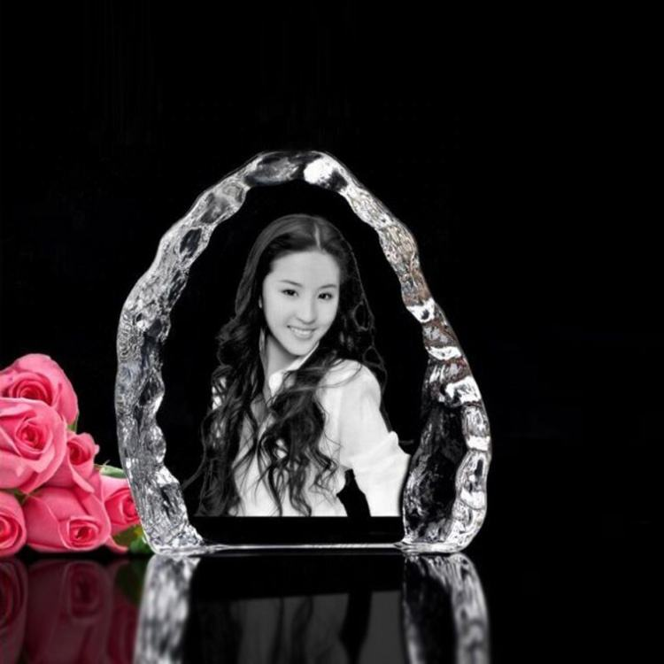Customized pictures souvenir gift crystal iceberg 3d engraved crystal photo frame