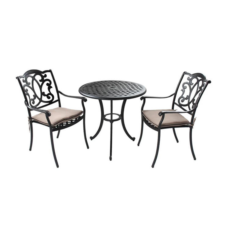 Cast aluminum 3pc Bistro Set Garden Yard Outdoor Furniture Cast Aluminum Patio Bistro Set Round Table and Arm Chairs