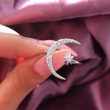 New Creative Fashion Moon Star Crystal Open Ring For Women Party Wedding Bridal Rings Jewelry Accessories Gift
