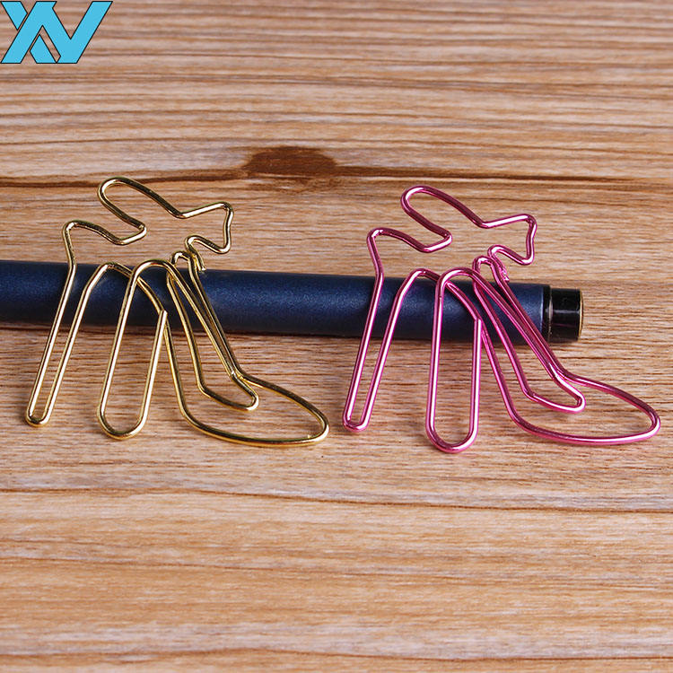 metallic gold /rose gold pink cute high-heeled shoes shape paper clip