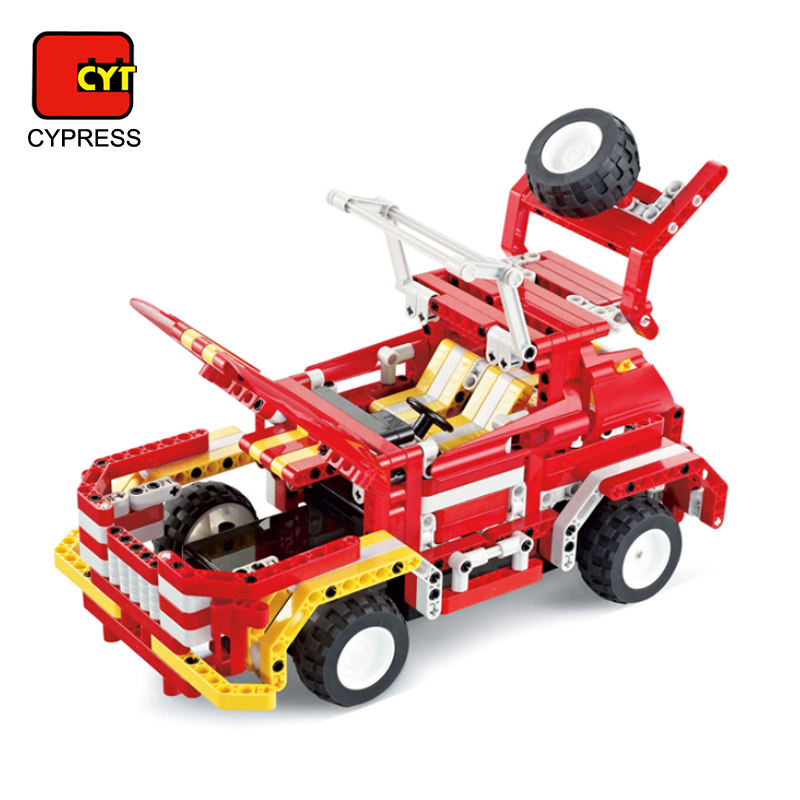 interactive diy bricks rc toys building block car with 472 pcs