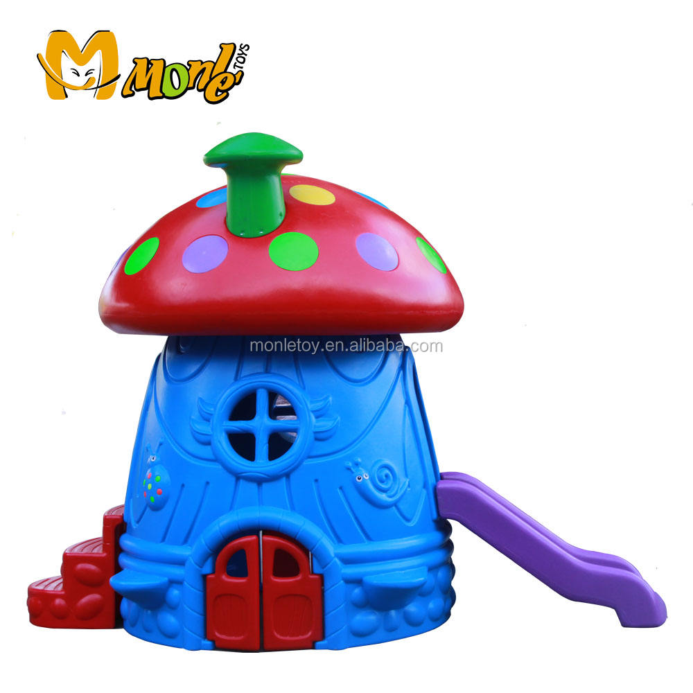 kids plastic toy Mushroom house slide outdoor playground play house