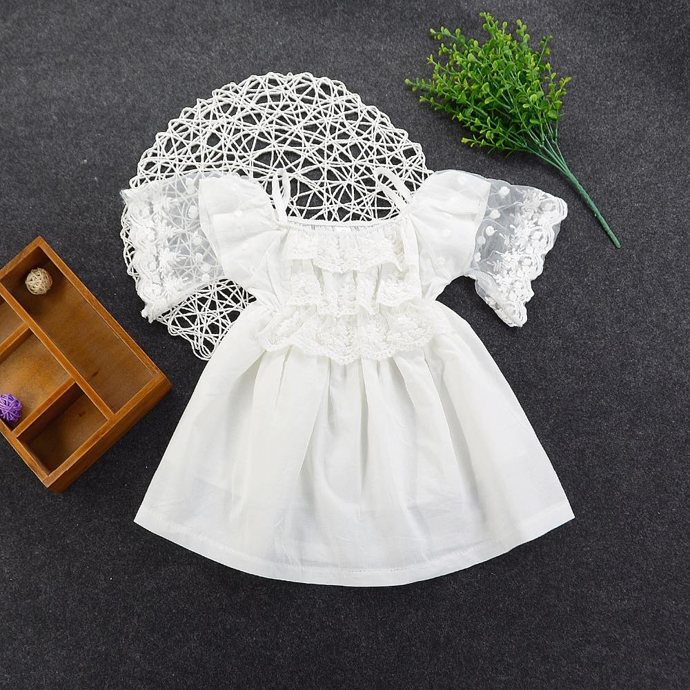 hot sale high quality girls white lace retro princess kid dress