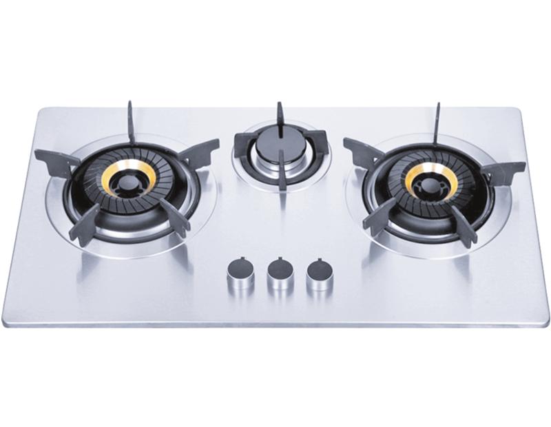 Uso doméstico tres quemadores de gas incorporado rango