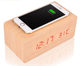 Mobile phone wireless charger wooden alarm clock with temperature display