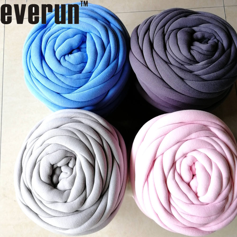100% COTTON D3-4cm SEAMLESS machine washable super giant t shirt roving hollow fiber filled tube braid hand knitting yarn