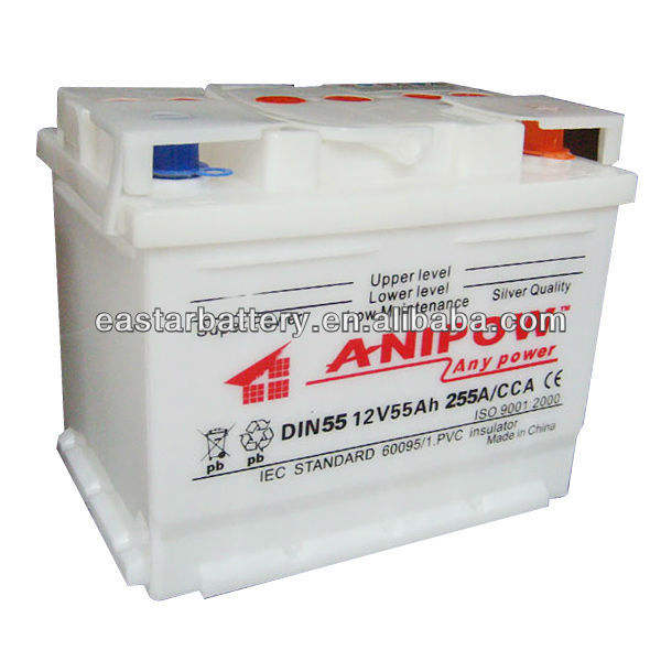 DIN standard dry charged car battery for European Vehicle (55530) -12V55ah