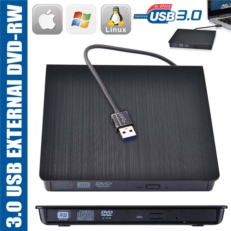 Portátil Ultra Slim USB 3.0 External DVD RW DVD-RW CD-RW Leitor Gravador de CD Burner Player Para PC Portátil