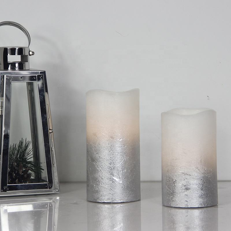Home Decoration Paraffin Wax Warm White Flickering Silver Pillar Party Candle Light Led Religious Flameless Candles