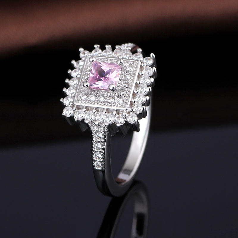 Plain White Gold Pave Diamond Pink Zircon Tat Ring