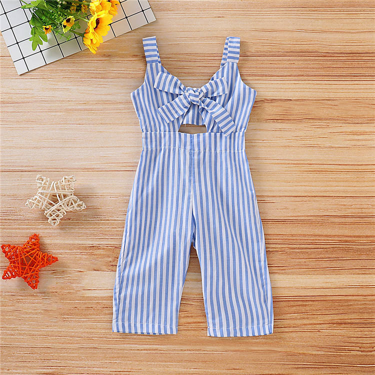 Ins hot summer one piece girls outfit Bow stripe design kids girls clothes kid girls jumpsuit
