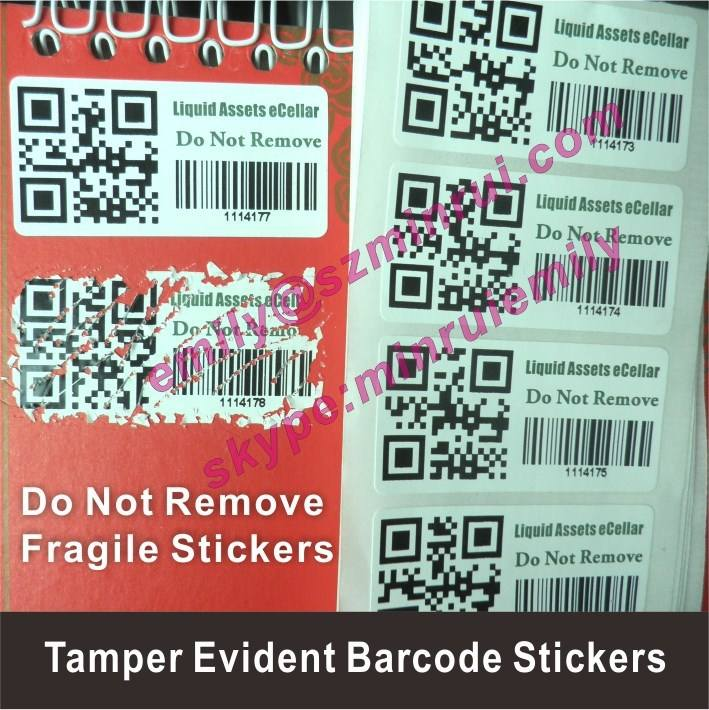 Custom destructible tamper proof asset labels with qr code, anti-theft barcode or qr code sticker