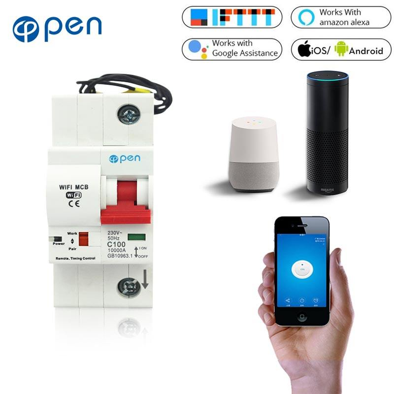 2P 63A Disjoncteur WiFi intelligent avec surveillance de l/énergie et fonction de mesure pour  Alexa et Google Home