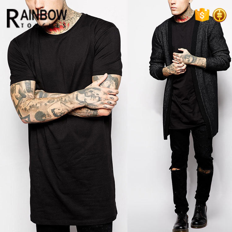Fashion Black Plain Design Slim Fit Long Line T Shirt Men