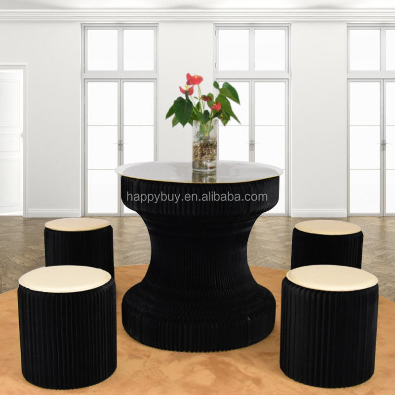 Fashion black color folding paper pro-environment small table sets coffee table paper furniture
