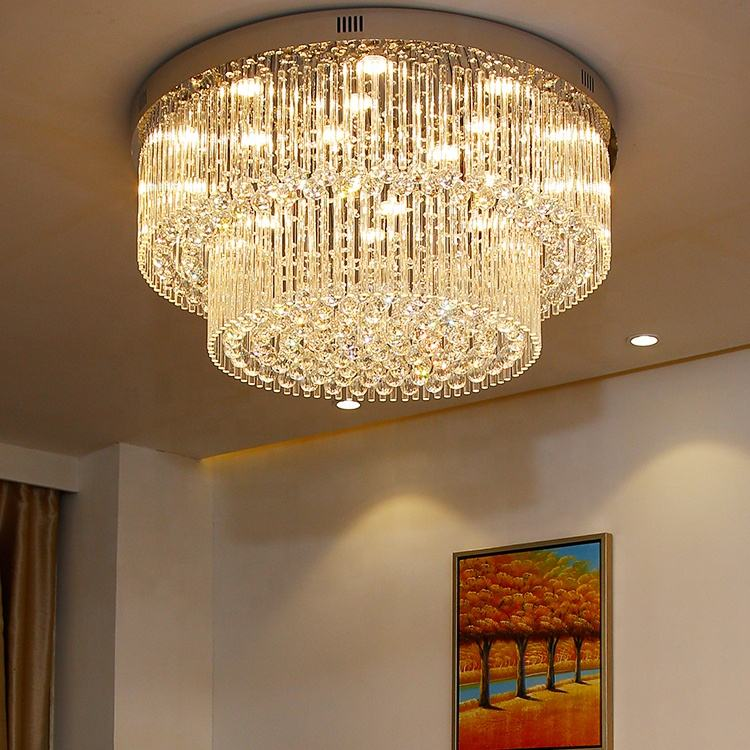 LED surface mounted crystal ceiling lights fancy round ceiling lamp lights for home ETL60357