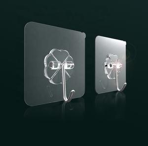hots sales Bathroom Kitchen Heavy Duty Self Adhesive Transparent Reusable Seamless plastic strong Hooks