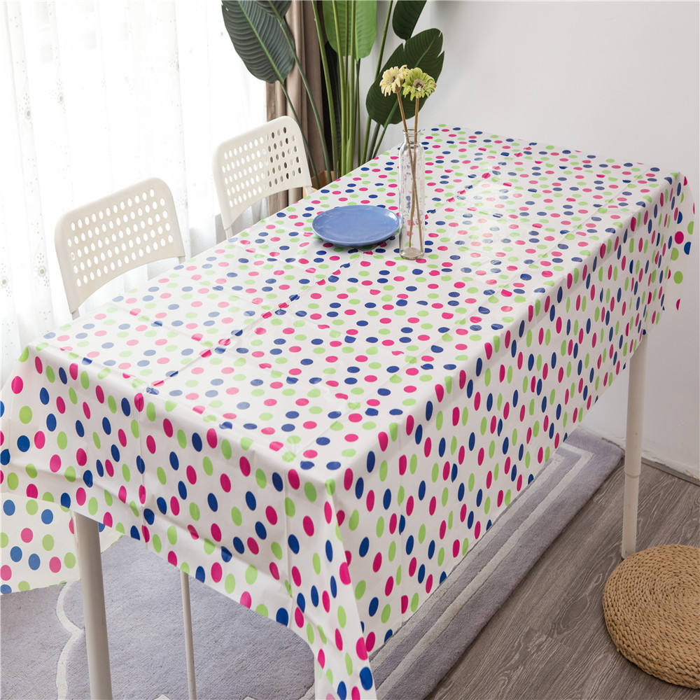 PARTY EVENTS SILVER GREY WHITE PLAIN POLKA DOTS PVC OIL VINYL TABLE CLOTH COVER
