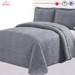 Wholesale BSCI audit microfiber embroidery coverlet gray col
