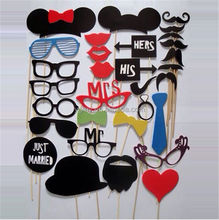 Different Styles DIY Photo Booth Props Hat Mustache On A Stick Wedding Birthday Party Fun Favor