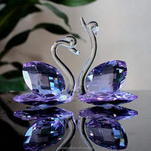 Custom clear glass crystal swan figurines wholesale crystal ornament