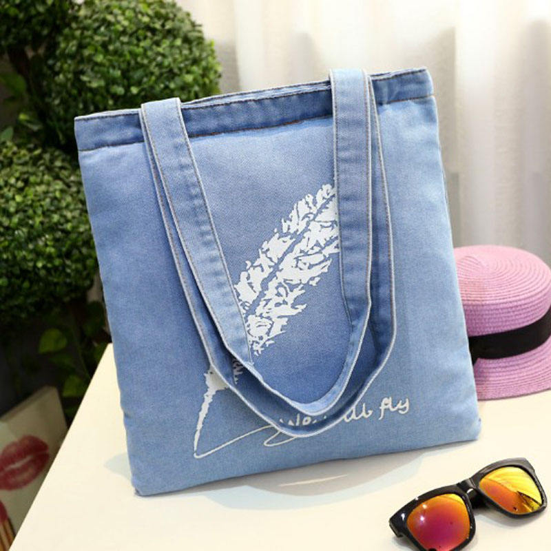 2018 Most Welcomed Logo Printed Top Quality bull denim woven cotton cities bag with strap
