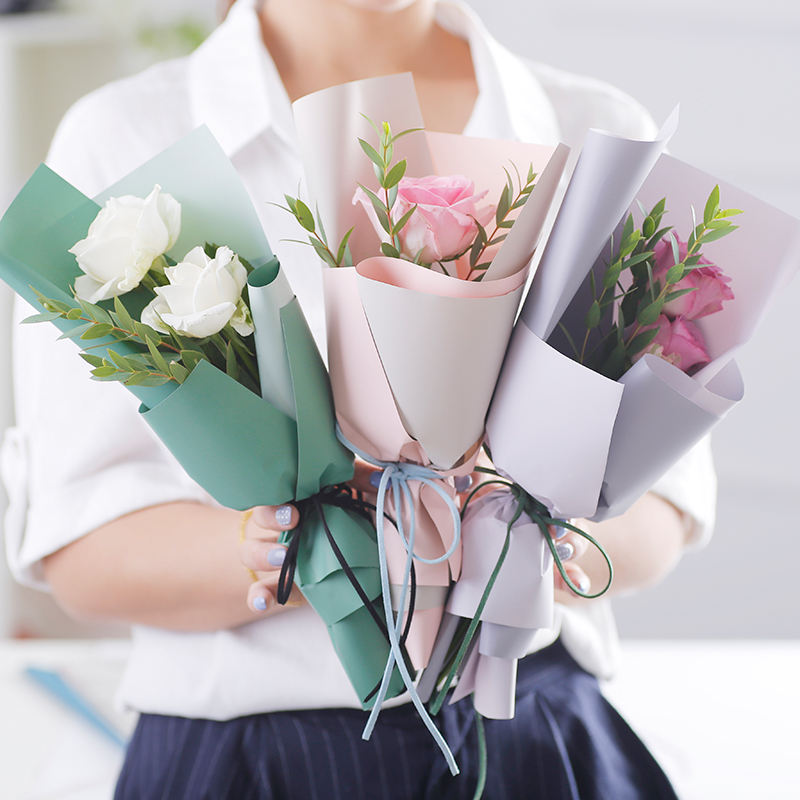 2 tone colors two sides waterproof wrapper Korean style Mini bouquet flower paper