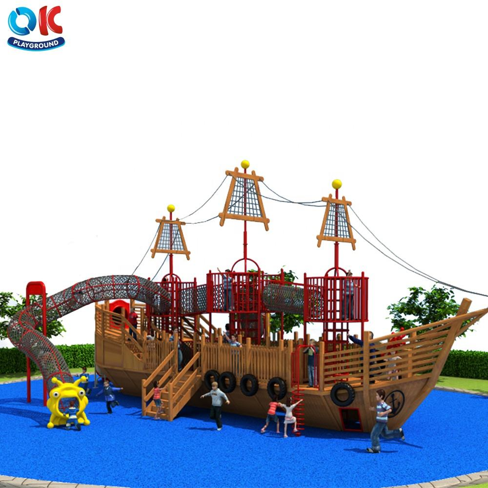 OK Playground Commercial Used Outdoor Playground Equipment For Sale, Wood Ship Playground
