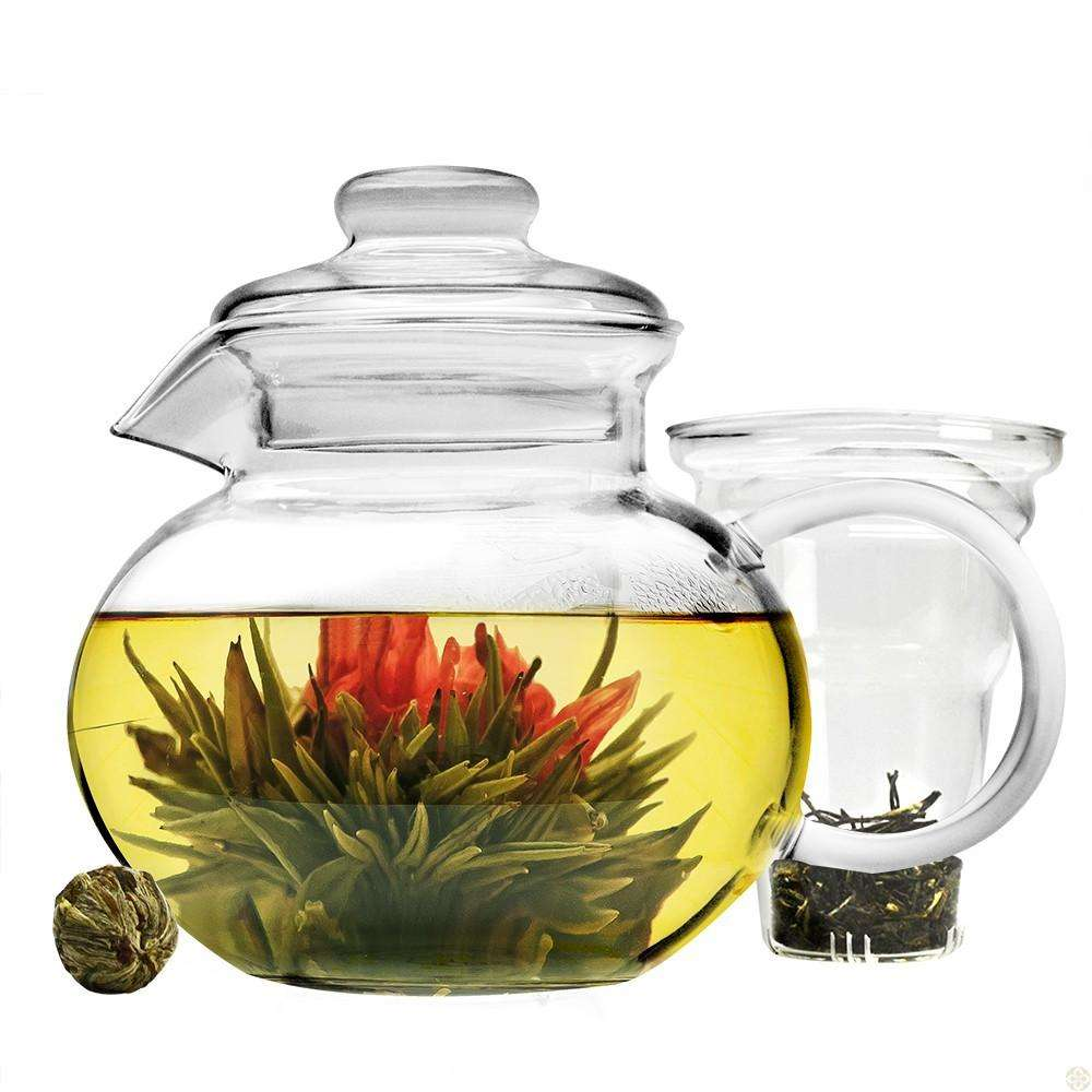 Monaco Teapot & Blooming Tea Gift Set (6 Pezzi)-34 oz Vetro Borosilicato Tea pot