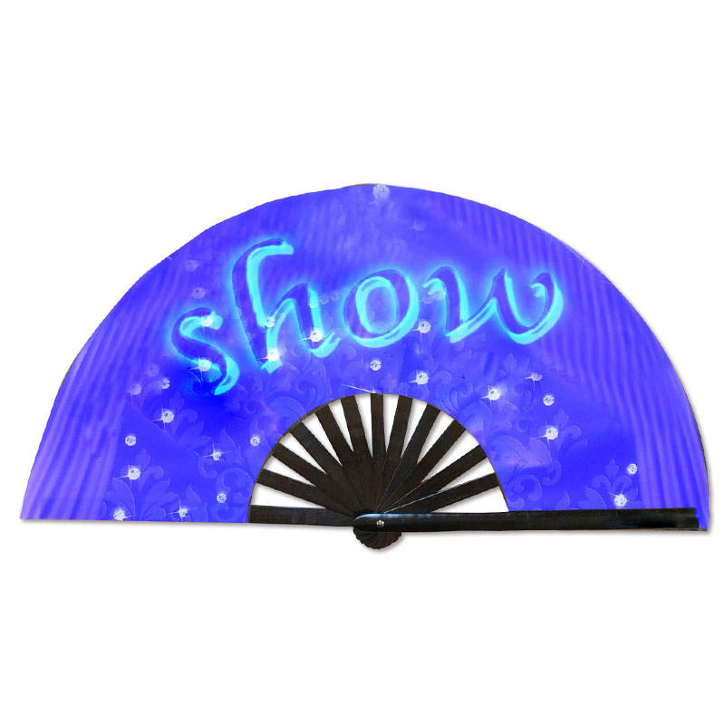 2019 NEW Bamboo products wholesale glow custom printed folding hand fan