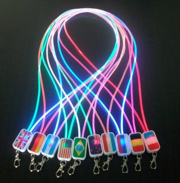 Ultra bright glowing optical fiber lanyard luminous fashionable shining decorative LED flashing lanyard